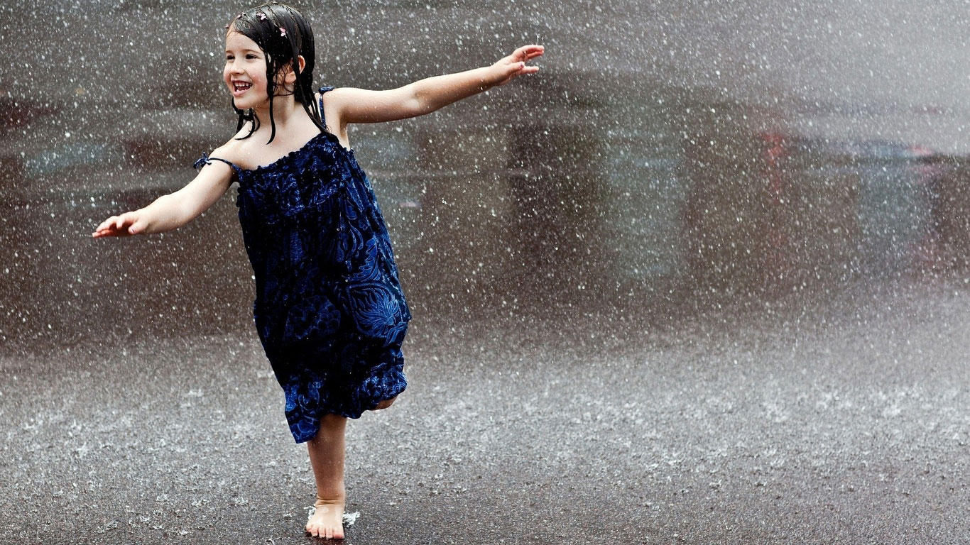 cute girl enjoing in rain wallpaper