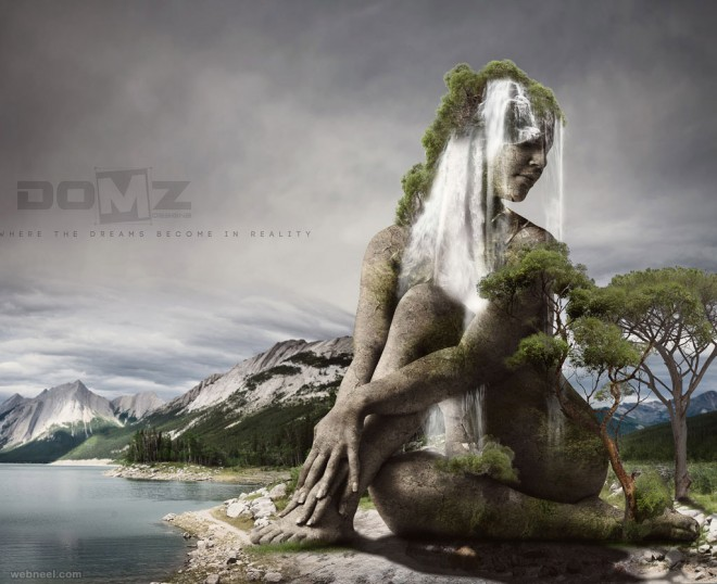 woman photo manipulation stone sculpture