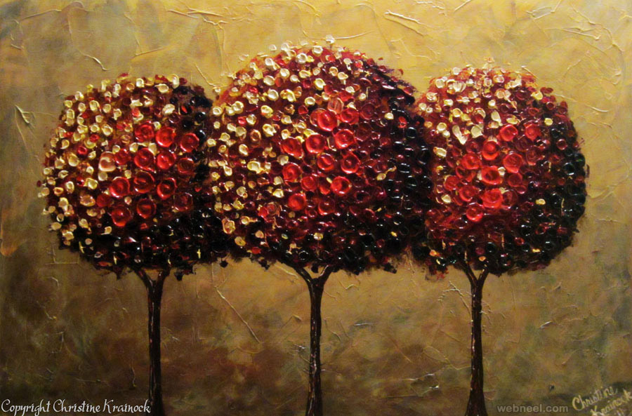 red tree lollipop palette knife paintings