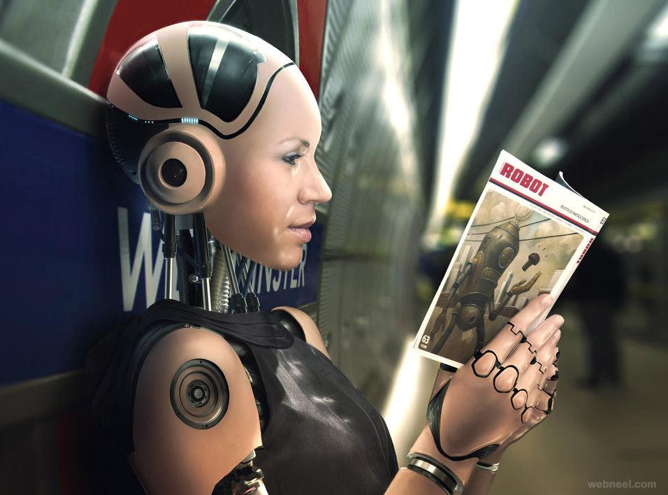 3d robot woman design