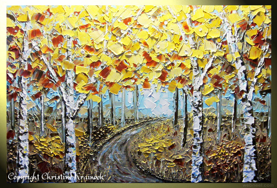 25 Beautiful Modern Textured Palette Knife Paintings by Christine