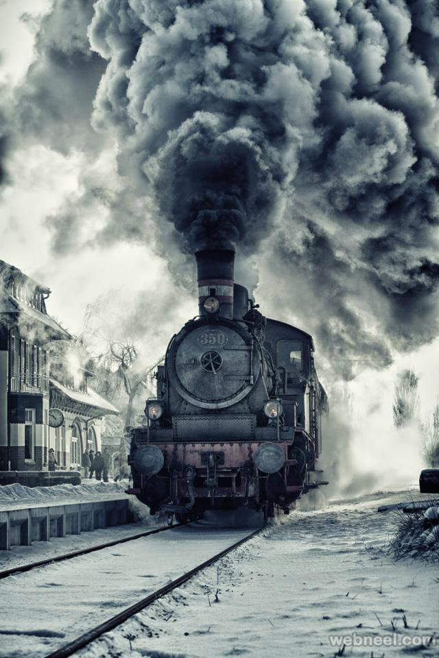 Beautiful train picture Amazing smoky engine photo