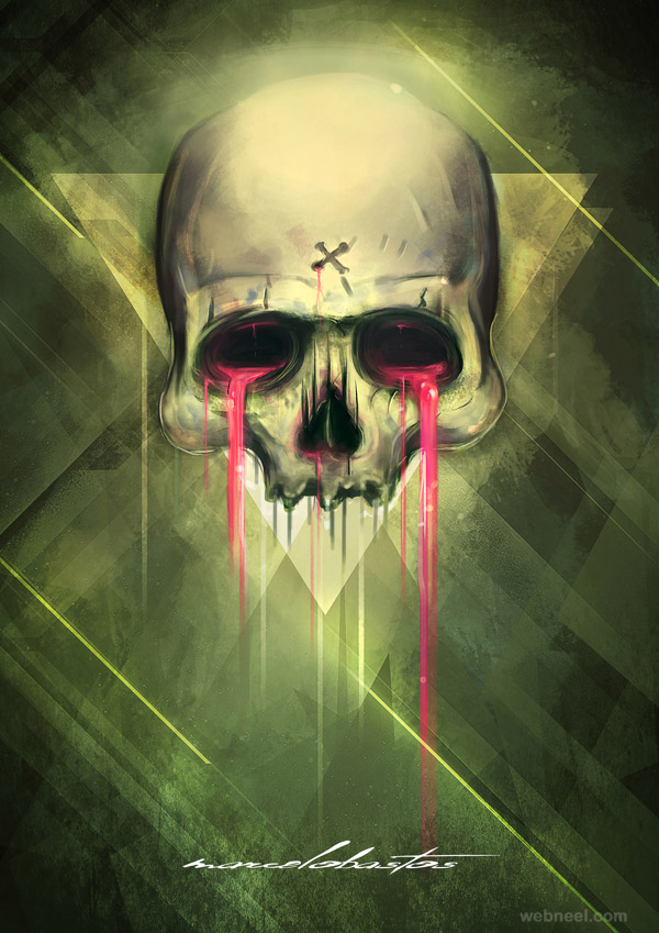 amazing painting skull bleed amazing picture
