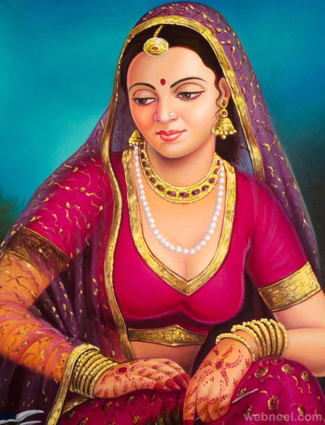 indian paintings woman
