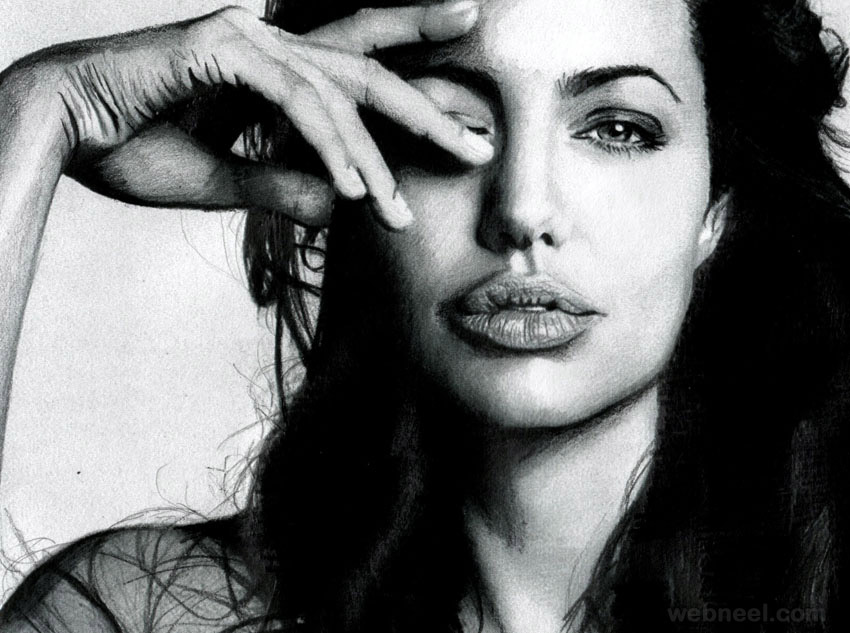 charcoal drawing angelina