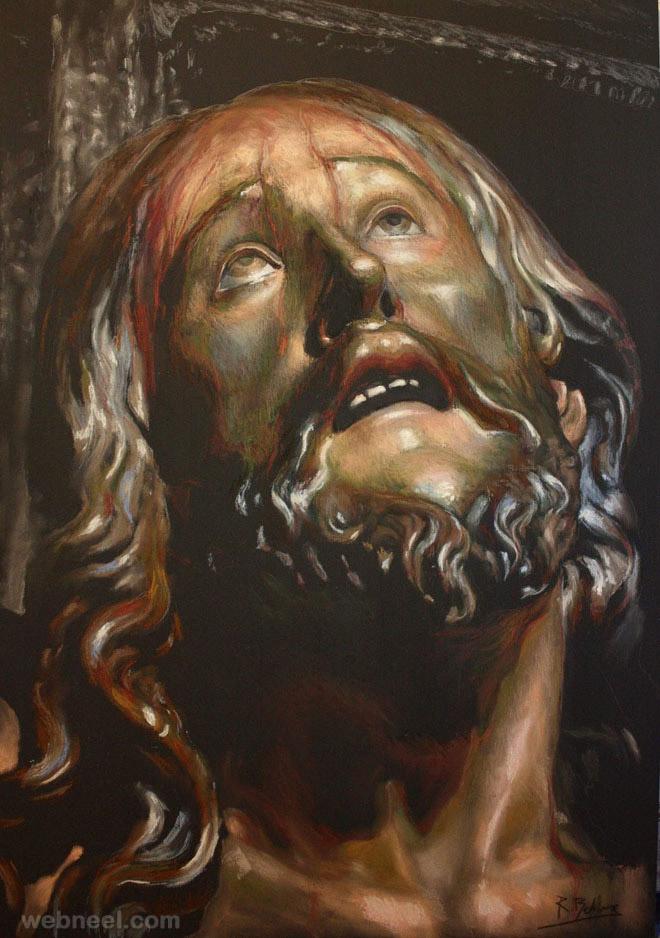 pastel painting jesus