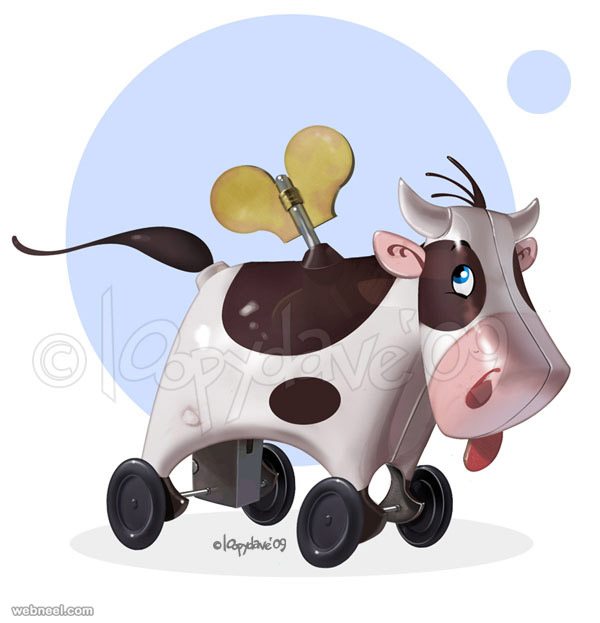 cow digital paintings loopy dave