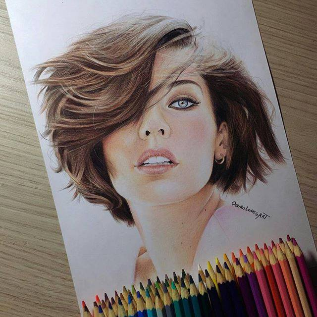 Girl color pencil drawing by pedrolopesart