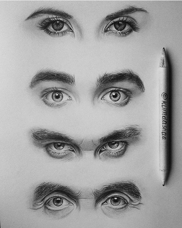 realistic eyes drawing by klimdashaa