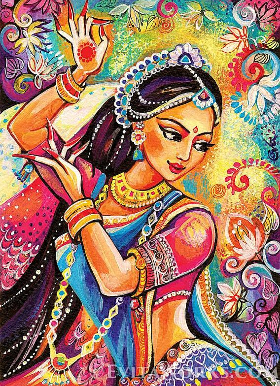 indian paintings dancer woman by evitaworks
