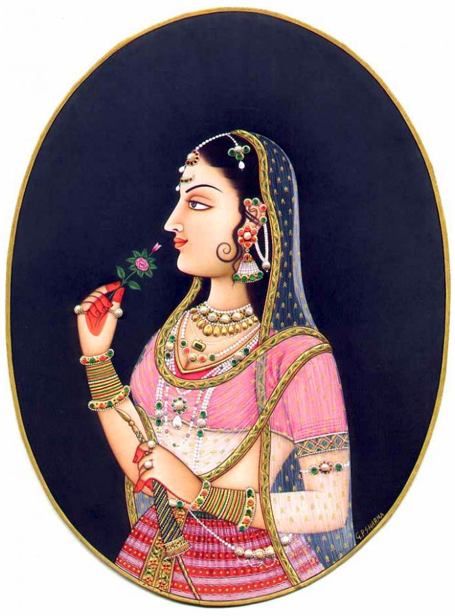 queen princess rajasthani rajput painting gopalprasad