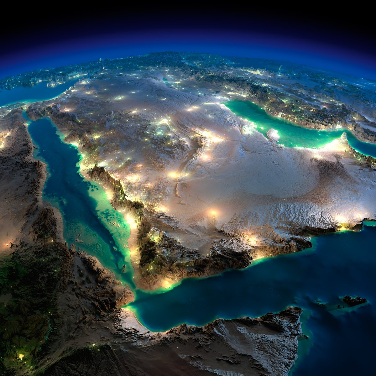 earth night photosarabian peninsula