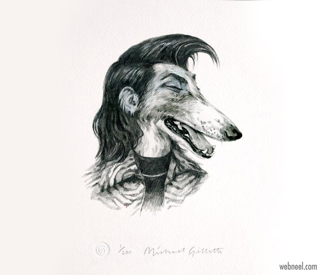 pencil drawing dog bryan ferry funny by michaelgillete