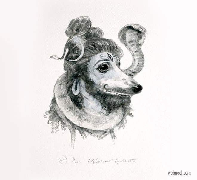 pencil drawing dog shiva funny by michaelgillete