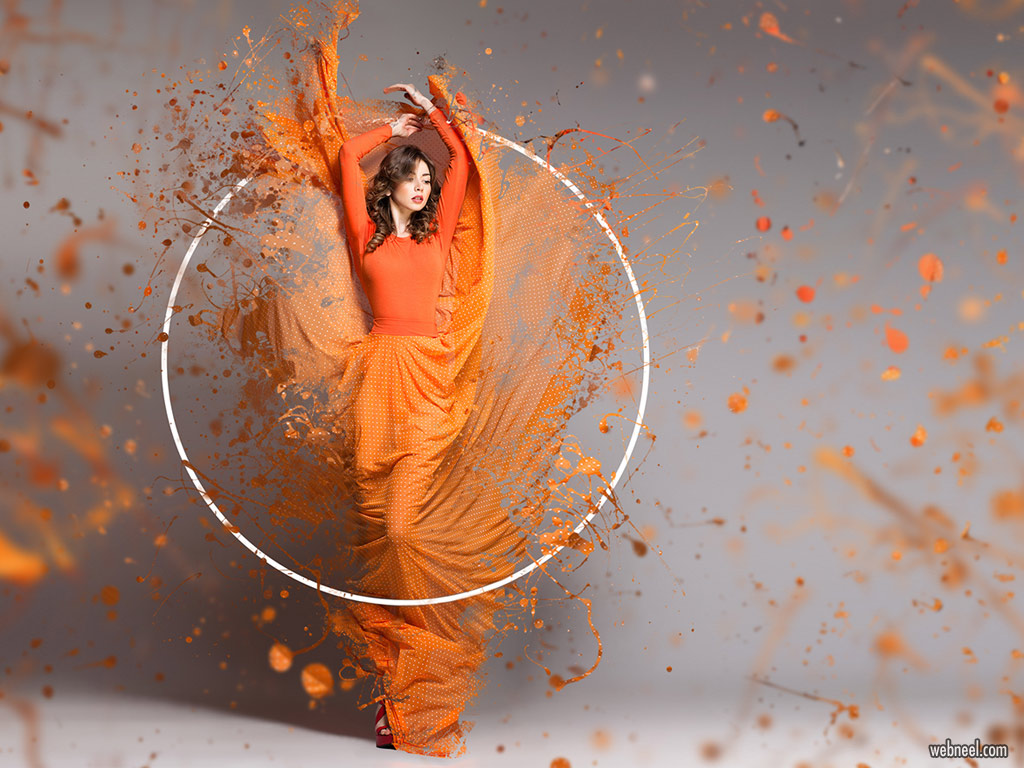 photo manipulation woman splash