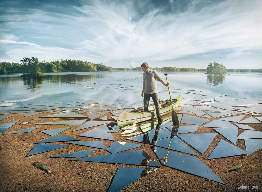 photo manipulation broken glass lake water