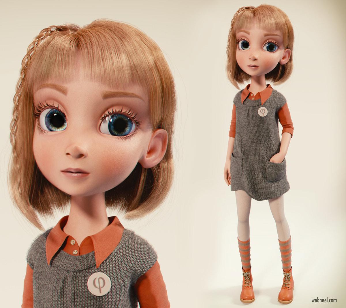 3d model girl blender