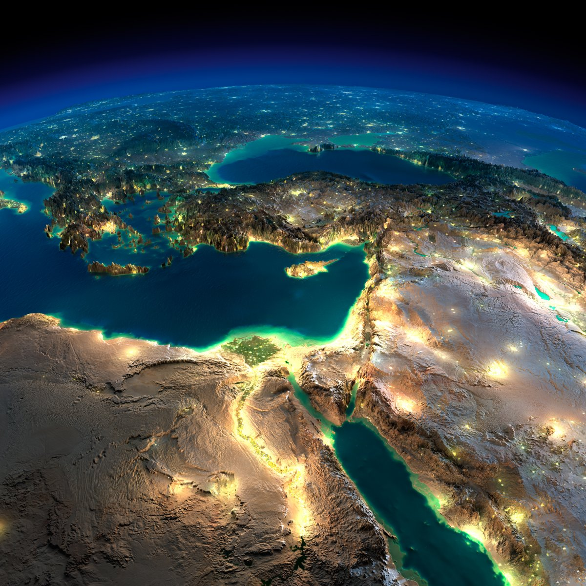 earth night photos middleeast