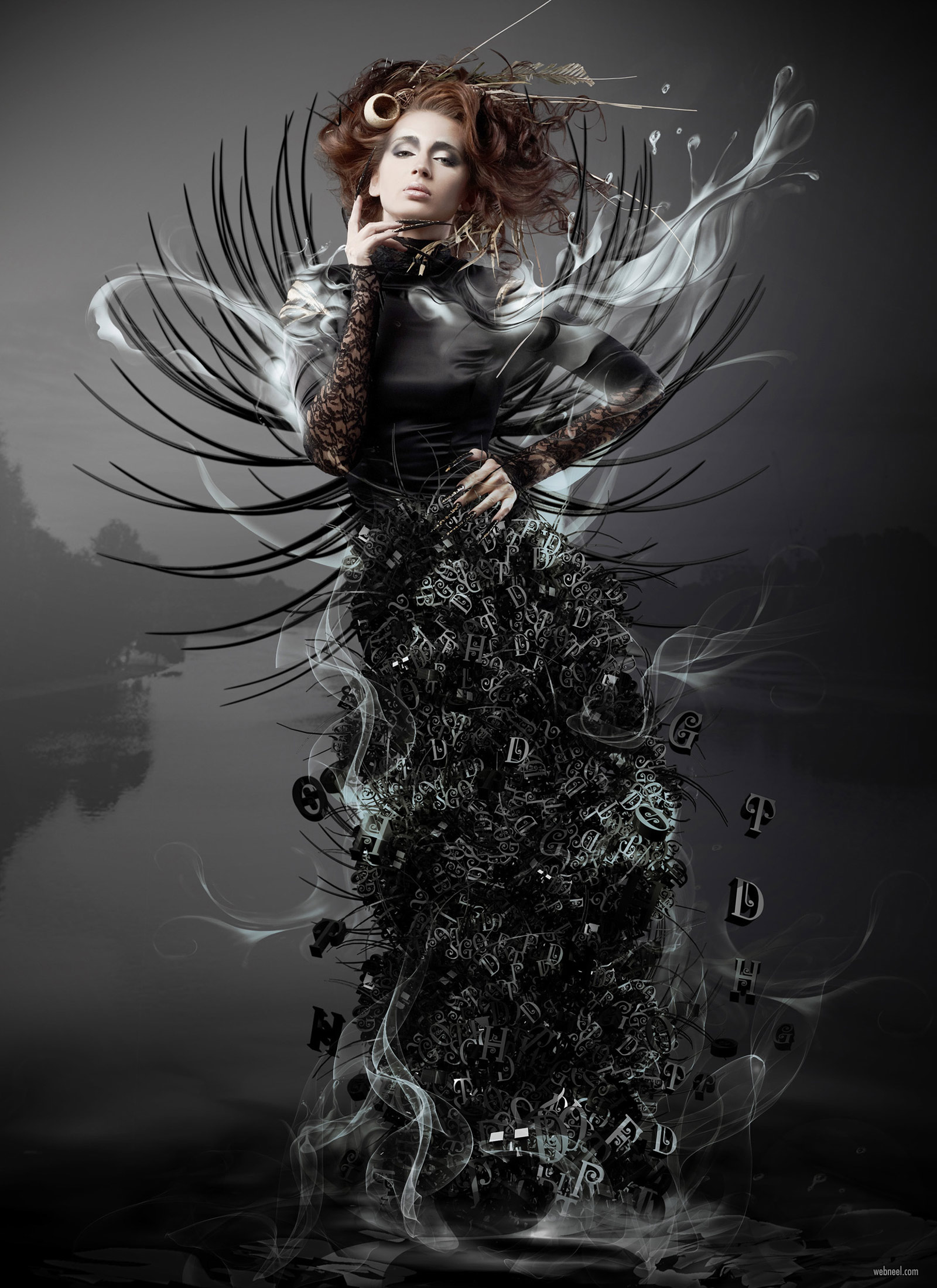 photo manipulation woman typography