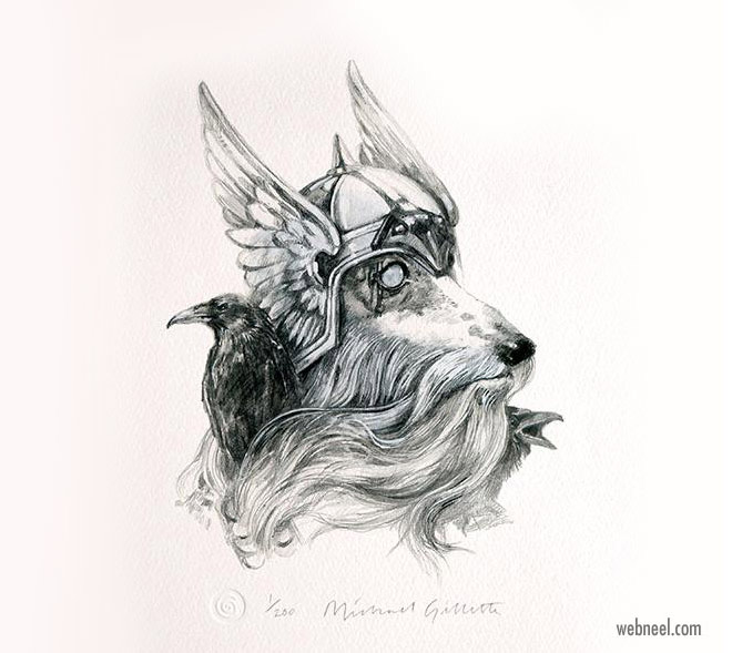 pencil drawing dog odin funny by michaelgillette