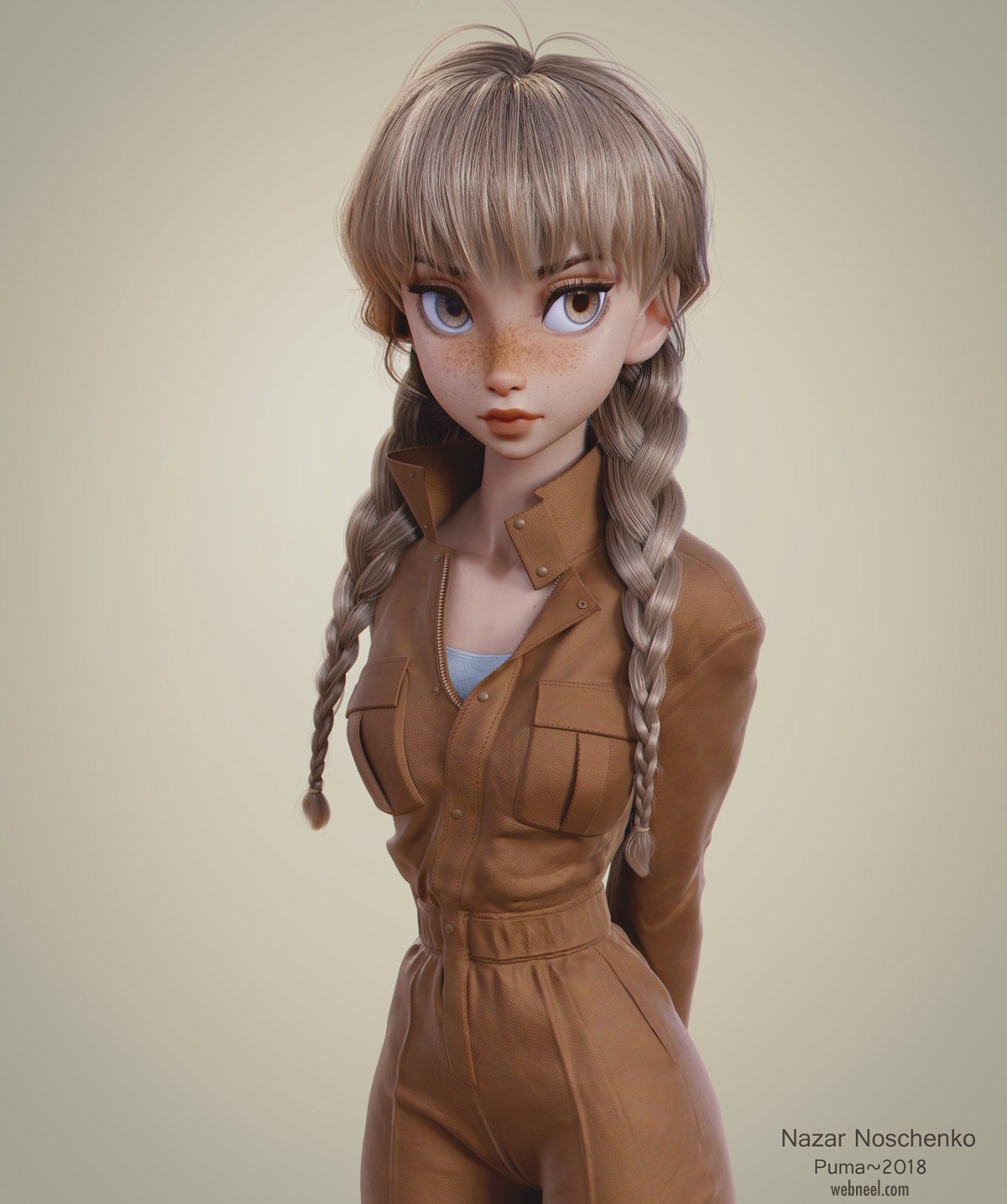 3d blender model girl by nazar noschenko