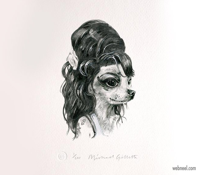 pencil drawing dog amy funny by michaelgillette