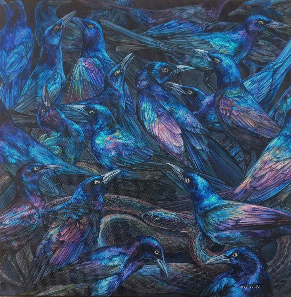 acrylic painting crow snake by emily ding