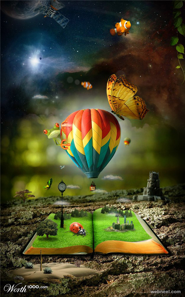 photo manipulation hot air balloon scenery