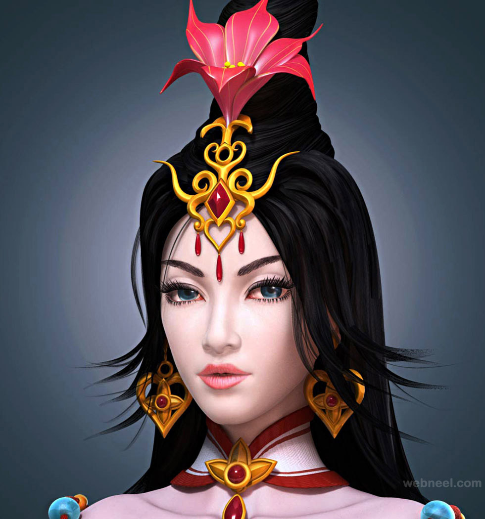 game character design model 3d best game femail girl