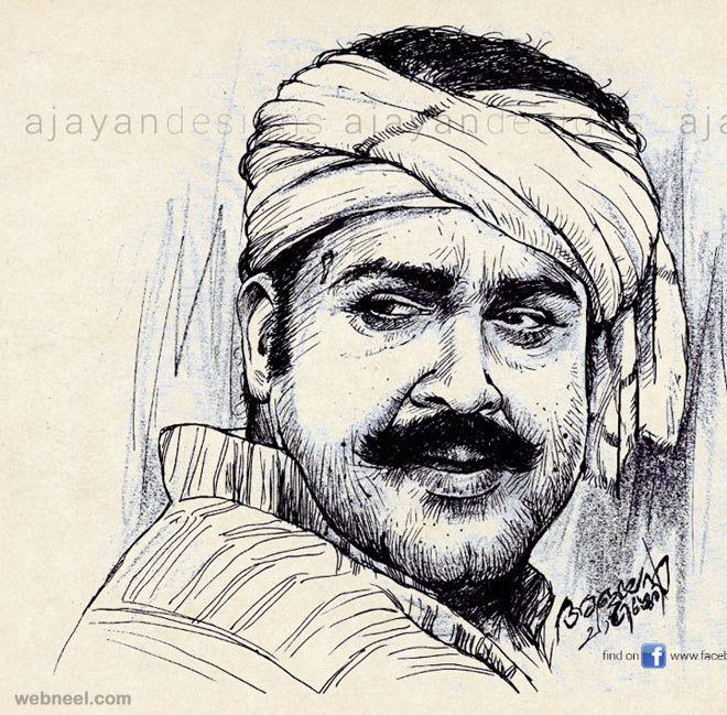mohanlal malayalam actor drawing
