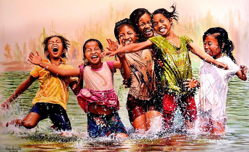 kids happy acrylic painting eric marette