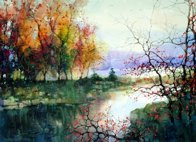 watercolor painting landscape