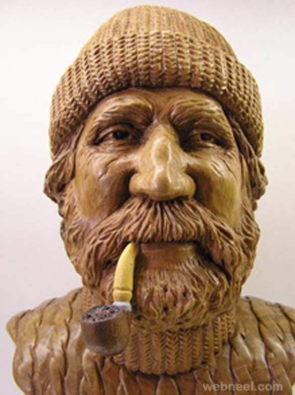 wood carving face sculpture