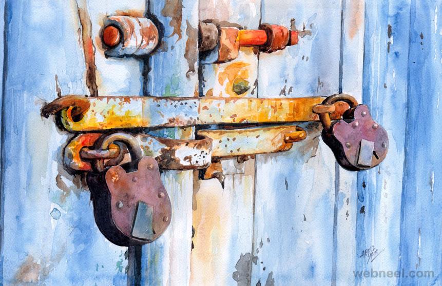 watercolor painting by abdul salim