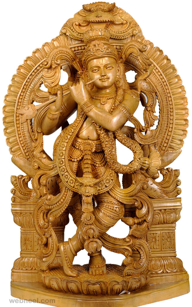 Wood Carving Sculpture Krishna Hindu God 19
