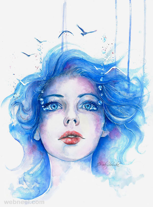 watercolor painting girl by proxi