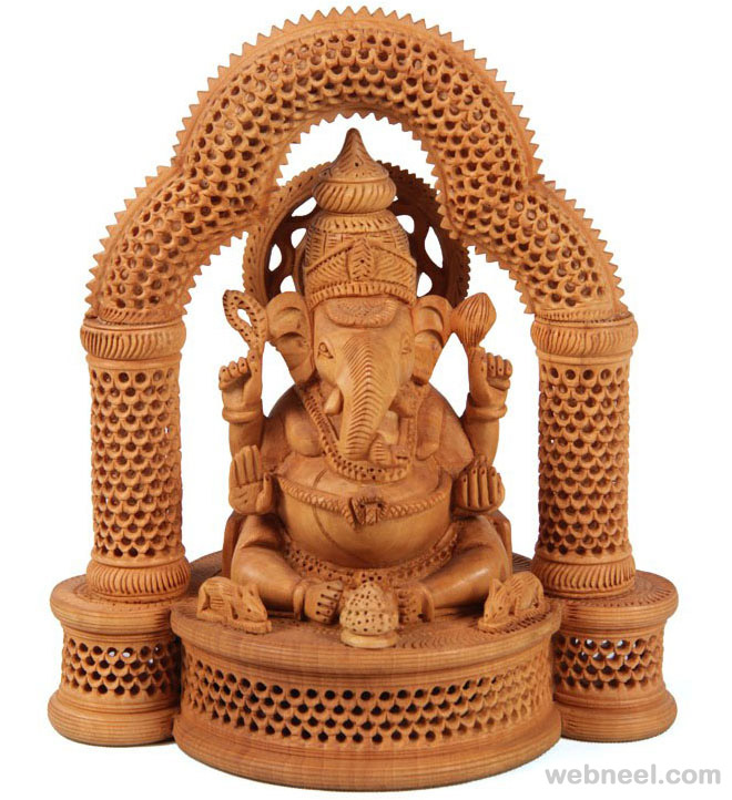 wood carving ganesha god