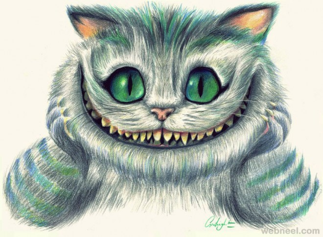 evil cat drawing