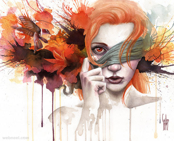 Watercolor painting face by guillembe