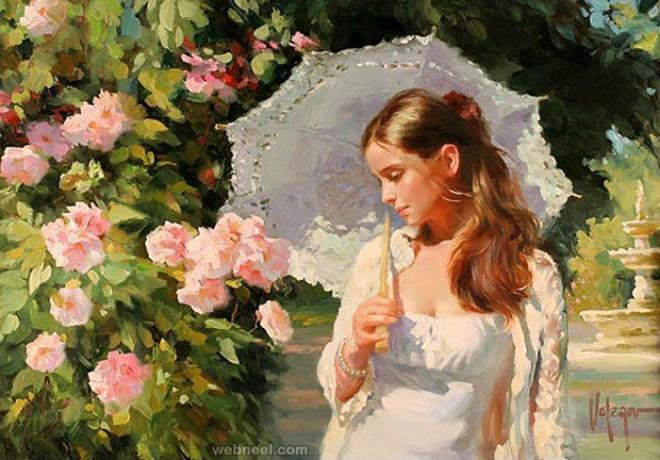 watercolor painting girl by vladimir