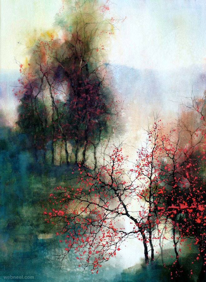 15 beautiful watercolor landscape paintings by zl feng for The best artist websites