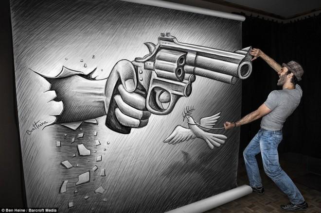 gun 3d pencil drawing