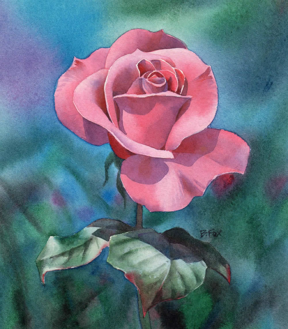 Pink rose flower painting for How to paint a rose in watercolour