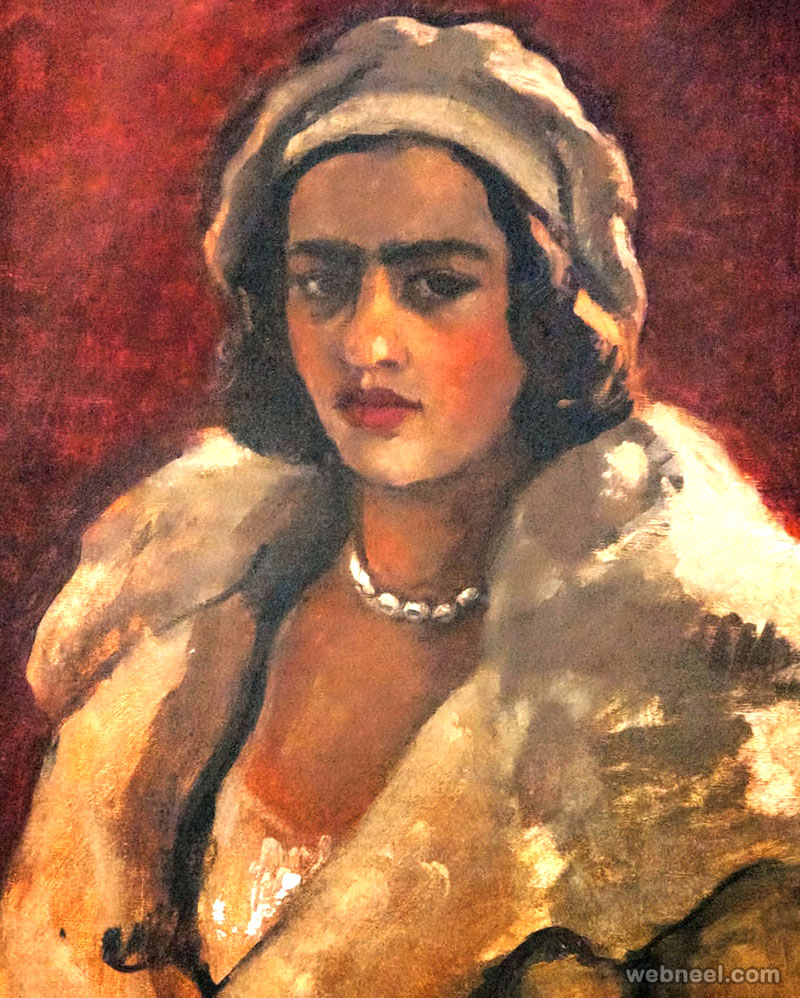 woman painting by amrita sher gil 1