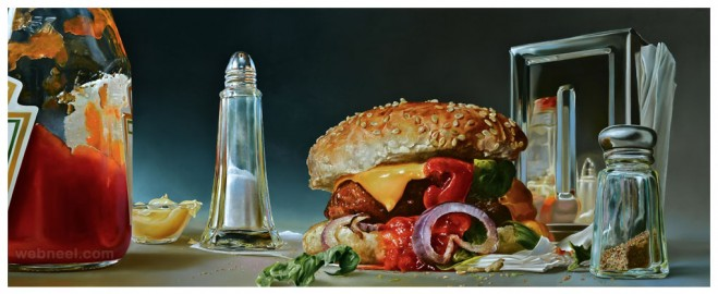 foodscape realistic oil paintings