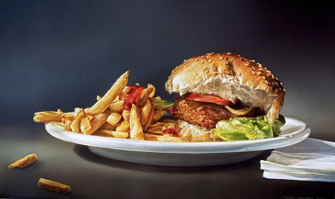 hamurger realistic oil paintings