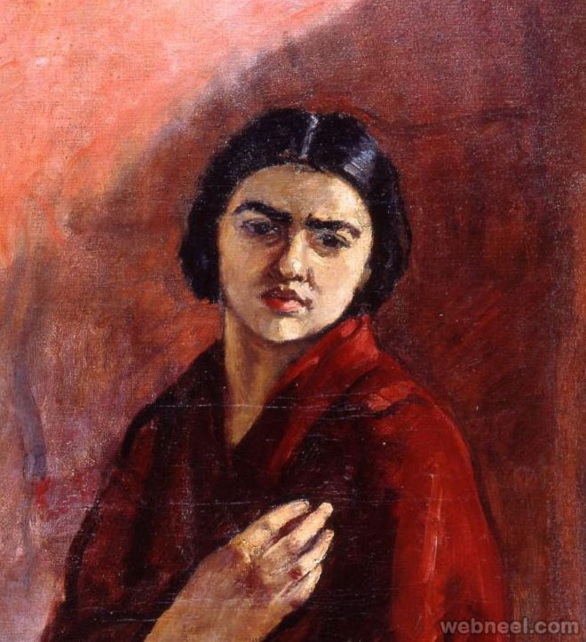 red cloak woman painting by amrita shergil 11