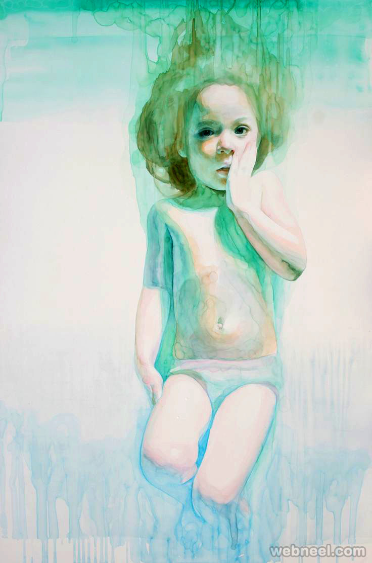 surprised child watercolor painting