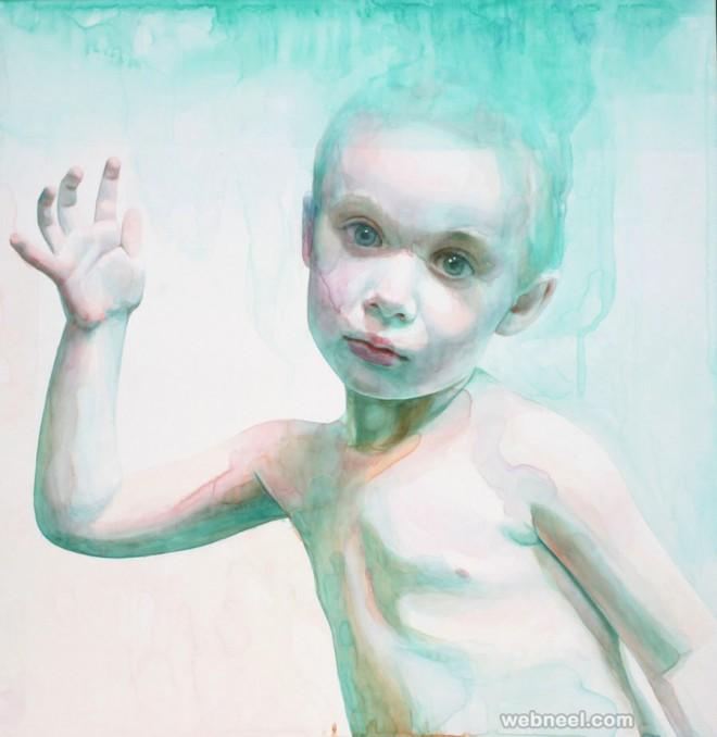 boy watercolor painting by ali cavanaugh