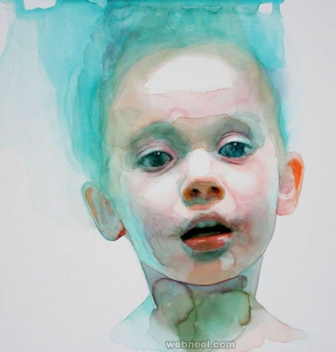 boy watercolor painting